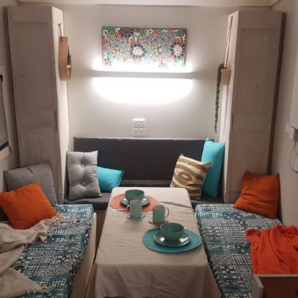 informal lounge dining area tiny home