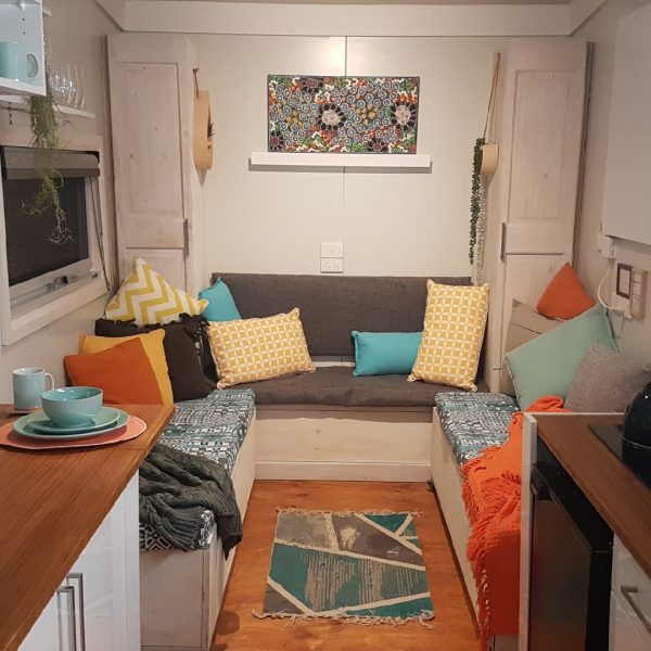 living area floor layout of tiny home