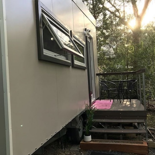 access steps to tiny home on wheels
