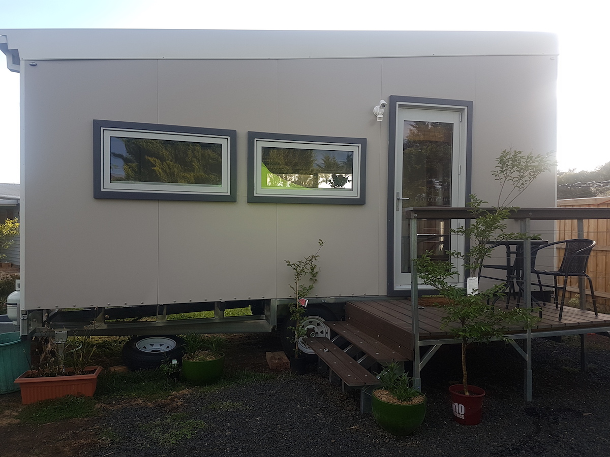 trailered tiny house ready for transport